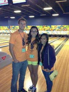 Alex, Janelle and Jordyn at Zone Bowling.