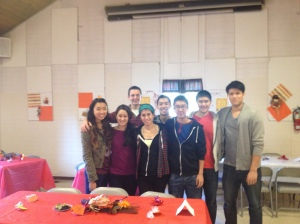 Janelle, Kimberley, Adam, Emi, Jordan, Ryan, Eric and Chris H. getting ready to serve lunch!