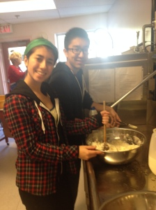 Emi and Ryan working on the mashed potatoes.