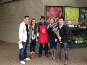 One of the scavenger hunt tasks involved purchasing a hot beverage to warm up a Salvation Army volunteer.