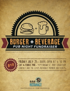 Burger & Beverage Night Fundraiser Poster